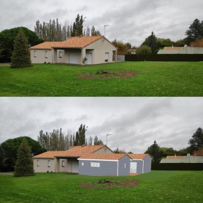 Extension ossature bois La Chapelle Saint Laurent